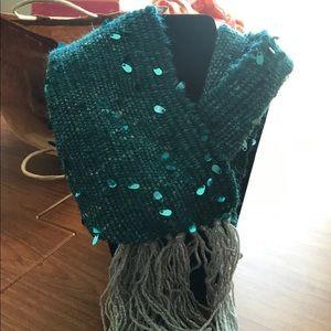 Teal artsy neck scarf/cowl